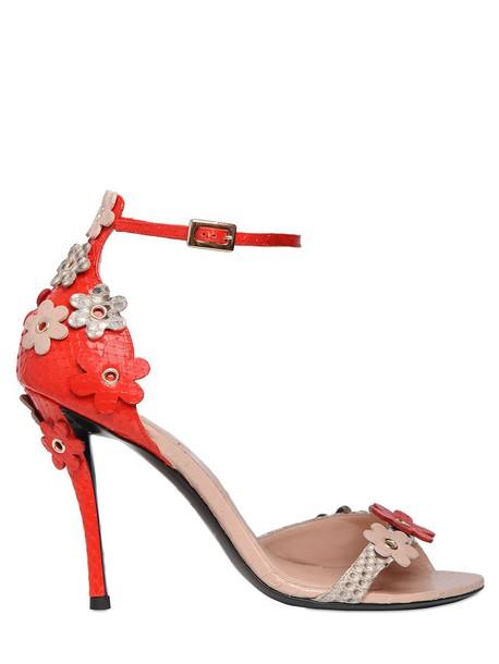 Roger Vivier python sandals flowers orange grey shoes