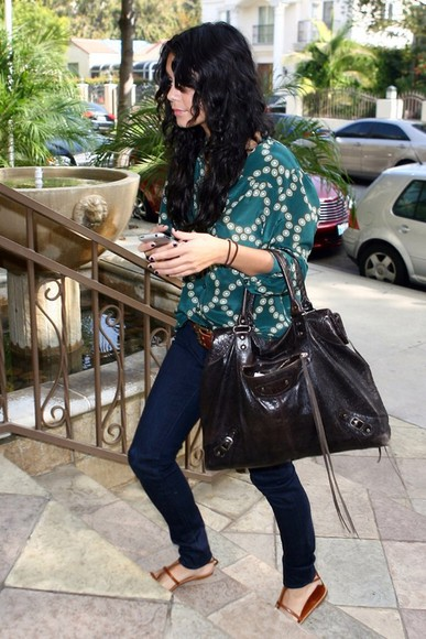 blouse blue blouse vanessa hudgens bag