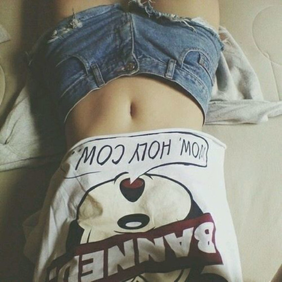 shorts shirt mickey mouse cute hipster cropped top funny distressed shorts