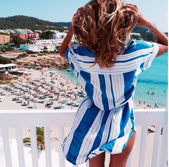 dress blue white stripes white and blue dress striped dress beach beach dress summer summer dress girl blue white stripe shirt dress chic casual
