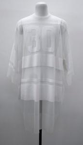 shirt,mesh,sheer,white,top,jumper,sweater,t-shirt,dress,transparent,see through,sheer tee,sheer top,sheer jumper,sheer sweater,sports luxe,baseball shirt,white top