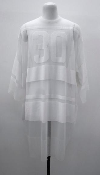 shirt mesh sheer white top jumper sweater t-shirt dress transparent see through sheer tee sheer top sheer jumper sheer sweater sports luxe baseball shirt white top