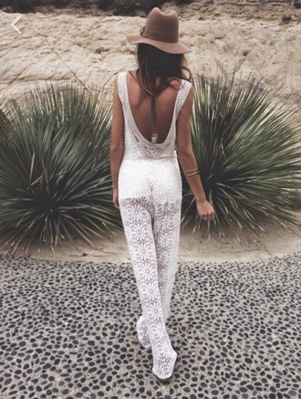 jumpsuit white lace embroidery fashion style hippie boho bohem bohemian gypsy pattern flowers