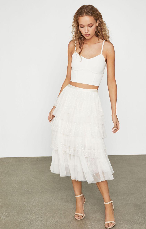 Flocked Dut Tulle Skirt