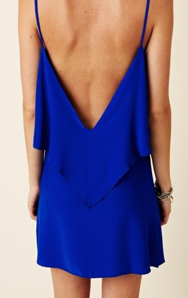 dress blue open back low back ootd back royal blue