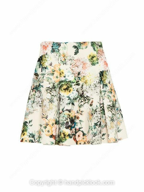Beige floral printed in fade style ruffle detailed skirt