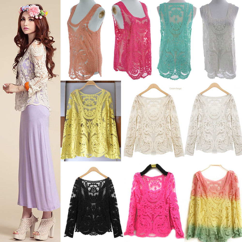 Semi Women Sheer Sleeve Embroidery Floral Lace Crochet Tee T Shirt Top Blouse | eBay