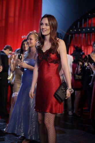 dress red slip dress slip dress red dress short dress spaghetti straps dress bag black bag clutch leighton meester celebrity