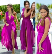 dress,maxi dress,prom dress,purple dress,purple,adriana lima,slit,v neck dress,formal,prom,deep v,plunge neckline,homecoming dress,maxi,flowy,victoria's secret,summer,beautiful,home accessory