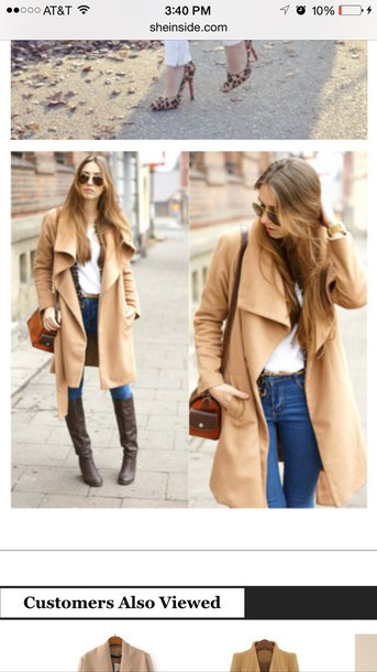 coat, tan, womens coat, long, women, long coat - Wheretoget