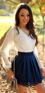 white blouse,navy skirt,scalloped,statement necklace,chain bag,animal print bag,cute outfits,scalloped skirt,eyelet skirt,skirt,blouse,shirt,blue,white,spring,pearl,sunny,cute