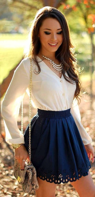 white blouse navy skirt scalloped statement necklace chain bag animal print bag cute outfits scalloped skirt eyelet skirt