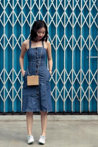 ulimali blogger dress denim dress mini bag crossbody bag