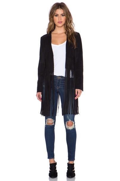 Sam Edelman jacket suede fringe jacket suede black