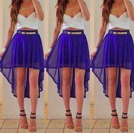 Irregular blue chiffon skirt