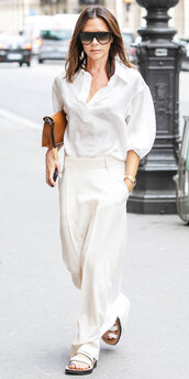 skirt,white,all white everything,victoria beckham,top,shirt,flat sandals,celebrity