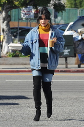 sweater,denim jacket,vanessa hudgens,celebrity,streetstyle,fall outfits,fall sweater