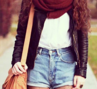 jacket leather jacket bag shorts high waisted shorts infinity scarf scarf white tank top tumblr shirt