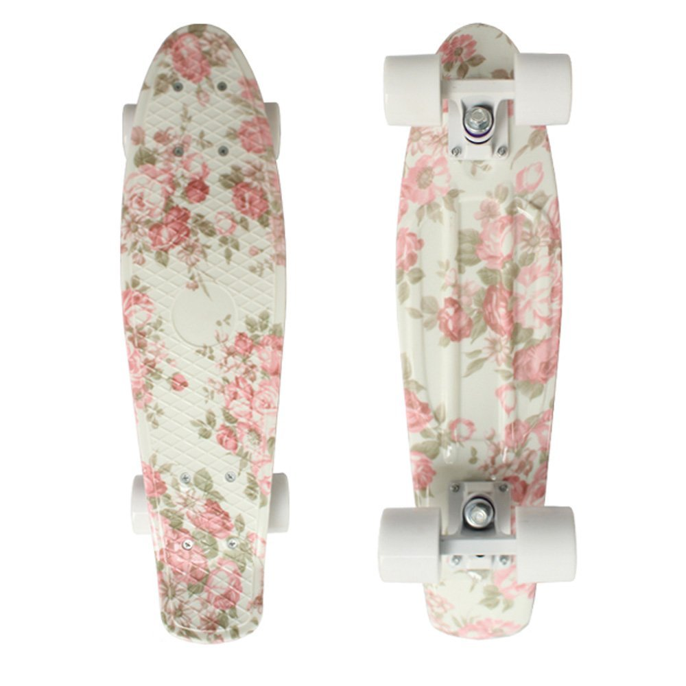 focus boards 22 inch penny style skateboard complete pink floral print outdoor. Black Bedroom Furniture Sets. Home Design Ideas