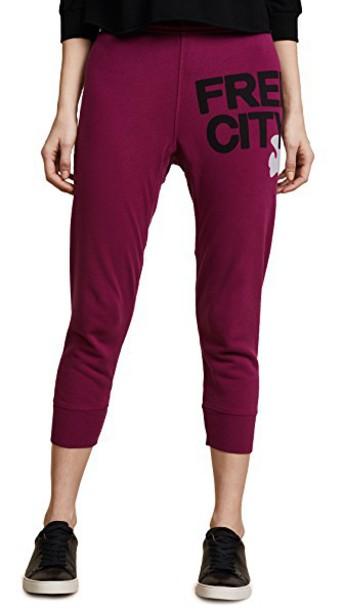 FREECITY sweatpants magenta pants