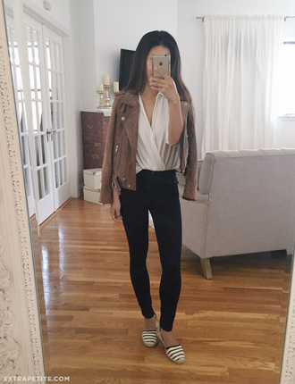 extra petite blogger top shoes jewels brown jacket suede jacket wrap top shirt white shirt black jeans espadrilles striped shoes flats sandals flat sandals spring outfits jacket