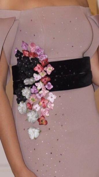 dress pink flowers black belt off the shoulder dress