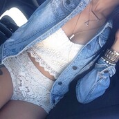 blouse,jacket,shirt,shorts,outfit,lace shorts,denim jacket,cropped,crop tops,white crop tops,lace top,two-piece,white top,white shorts,top