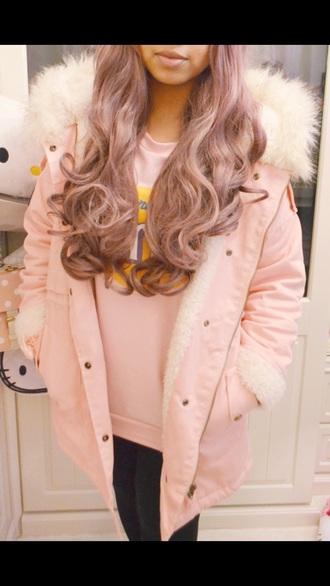 coat pink white fur hood parka baby pink gorgeous light pink