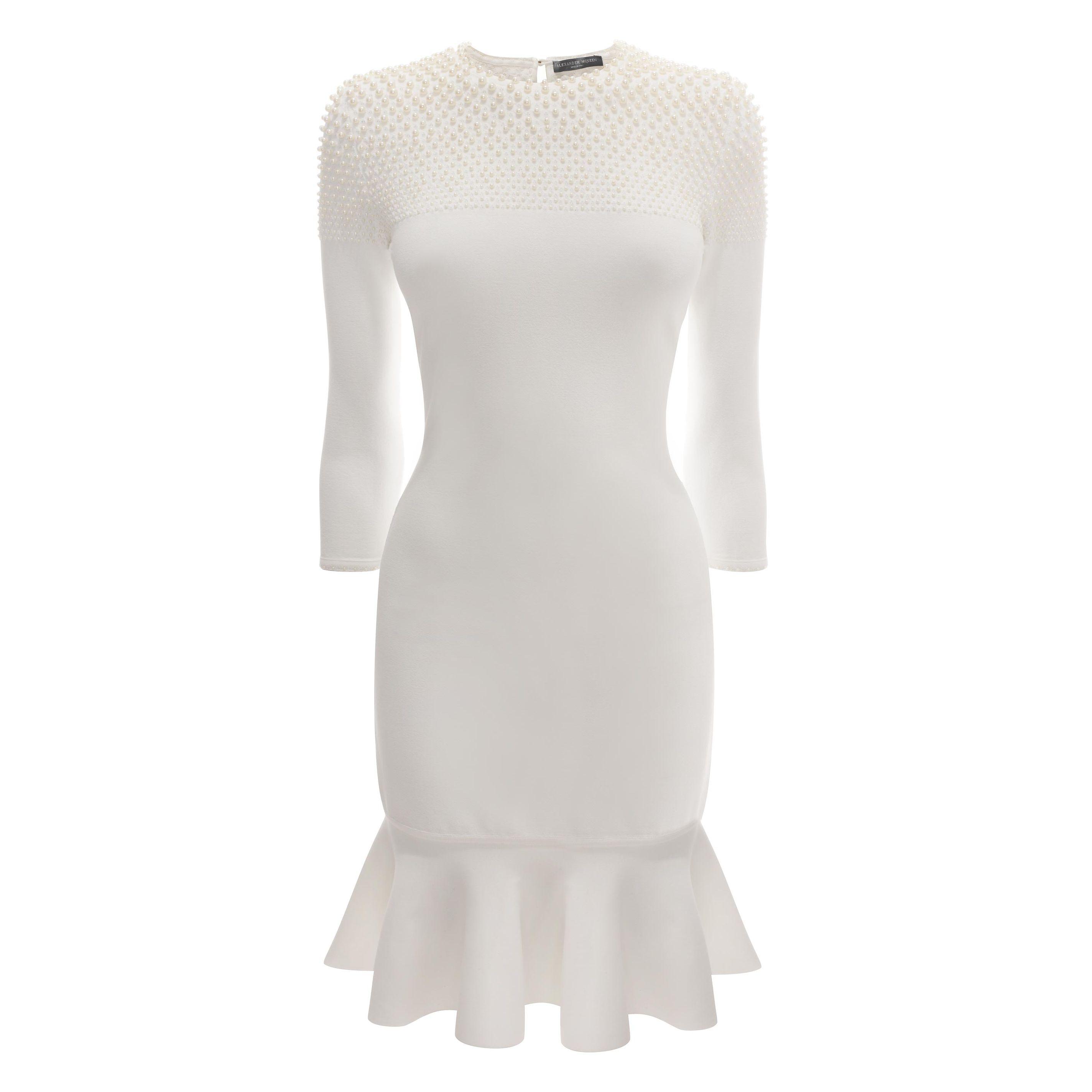 Mini robe aux broderies perles dégradées  alexander mcqueen