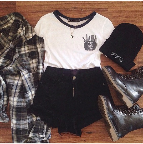 shorts spring summer black shorts High waisted shorts high waisted flannel chequered t-shirt beanie grunge hipster casual wear style shirt