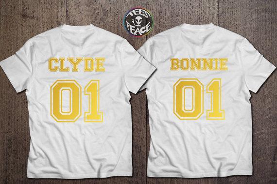 Bonnie Clyde couple shirts , Bonnie 01 Clyde 01 , Bonnie Clyde ,Gold Edition , Black edition CUSTOM NUMBERS