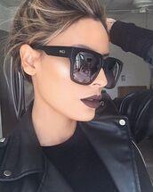 sunglasses,desi perkins,quay,black sunglasses,dark lipstick