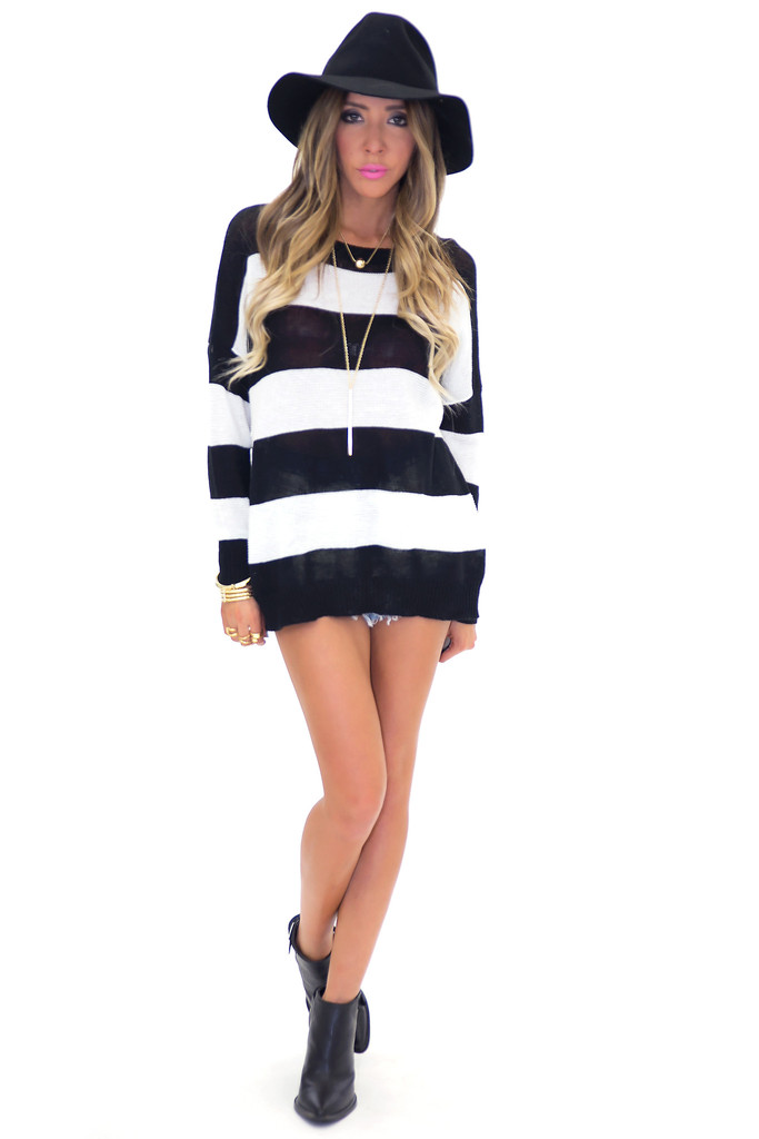RAYNA LIGHT KNIT STRIPED PULLOVER | Haute & Rebellious