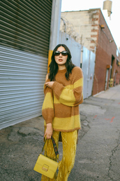 sweater,tumblr,knit,knitted sweater,yellow,yellow sweater,pants,yellow pants,wide-leg pants,bag,all yellow outfit,sunglasses