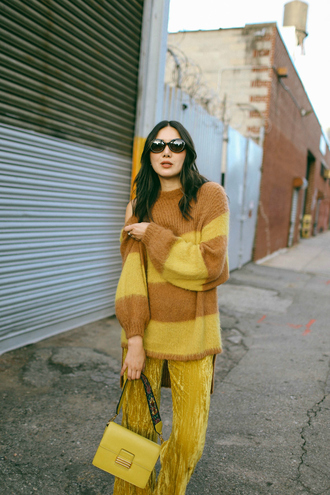 sweater tumblr knit knitted sweater yellow yellow sweater pants yellow pants wide-leg pants bag all yellow outfit sunglasses
