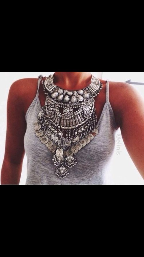 jewels statement necklace silver jewelry
