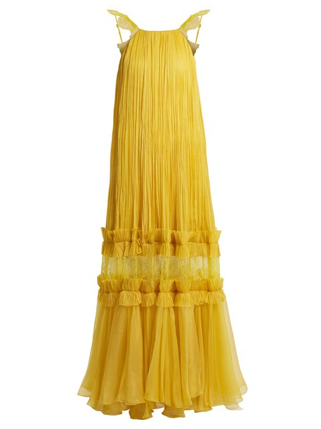 gown pleated yellow dress
