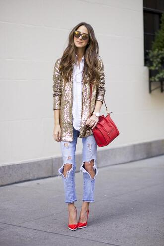 something navy blogger ripped jeans red heels red bag glitter jacket mirrored sunglasses