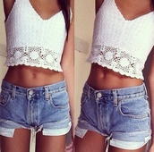 shirt,boho,crochet,crop tops,crop,white,cute,lace,tank top,lace top,crochet top,clothes,white clothing,cream,summer,top,denim,shorts,cut offs,sleevless,tan,girl,stomach,tumblr,floral,floral tank top,v neck,hipster,midriff,denim shorts,High waisted shorts,nitted shirt,summer outfits,crochet crop top,cut off shorts,high waisted denim shorts,girly,hot,coachella,women,please find his,i want this lots,jeans,demin,blouse,white crop tops,cuteclothes,white top,white crotchet top