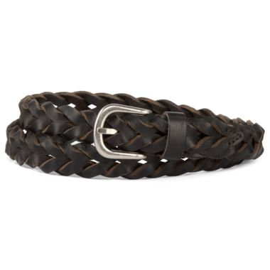 Skinny Braided Leather Belt - jcpenney