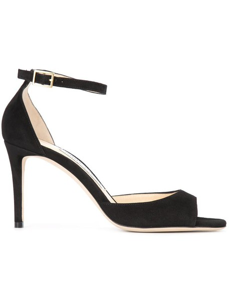 Jimmy Choo women sandals leather suede black shoes