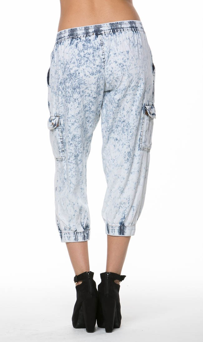 Acid wash cropped cargo joggers in light blue