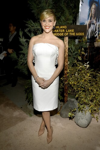 white dress reese witherspoon zac posen bustier dress