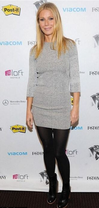 dress knitwear gwyneth paltrow boots ankle boots fall outfits fall dress scarf