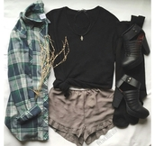 shorts,cute shorts,black top,flannel shirt,flannel top,flannel,plaid shirt,plaid,plaid flannel,choker necklace,choker chain,tattoo choker,choker collar,charms,charm,charm necklace,ankle boots black cutout buckles,ankle boots,ankle booties.,ankle shoes,ankle boot heels,black boots,boots,black ankle boots,green flannel,green plaid,cute,grunge,cool,girl,summer,dope,vintage,clothes,top,blouse,shirt,gorgeous,swag,women,lazy day,casual,stylish,style,trendy,outfit idea,fashion inspo,chill,rad,tumblr outfit,tumblr shirt,tumblr shorts,tumblr top,tumblr,tumblr clothes,date outfit,pretty,instagram,blogger,fashionista,on point clothing,shoes
