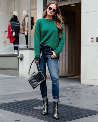 shoes silver boots tumblr boots ankle boots denim jeans blue jeans skinny jeans sweater green sweater bag sunglasses