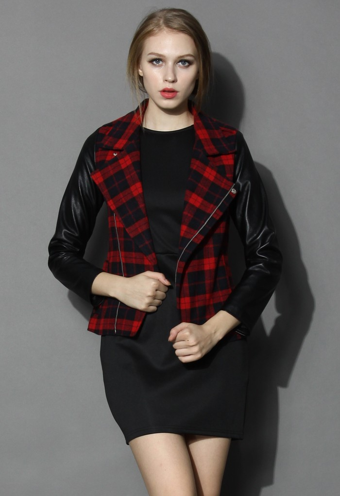Red Tartan Leather Sleeves Biker Jacket - Retro, Indie and Unique Fashion