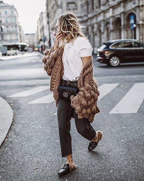 00e8b9c48 shoes gucci mules loafers cardigan gucci denim jeans oversized cardigan  black jeans bag white t-