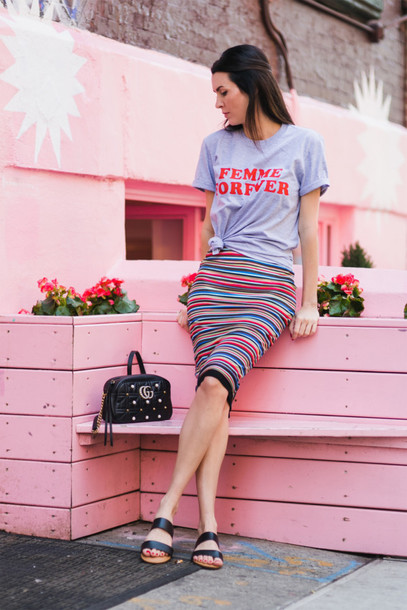 t-shirt skirt bodycon skirt gucci gucci bag blogger blogger style striped skirt slogan t-shirts slide shoes