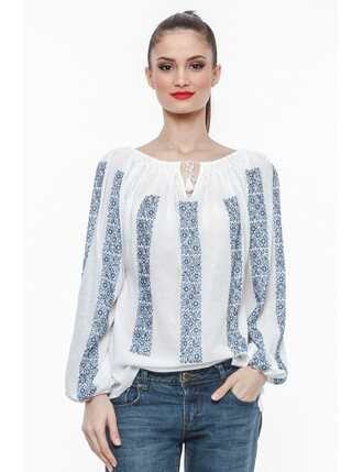 blouse ie blue white jeans knot romania traditional long sleeves peasant top blue and white